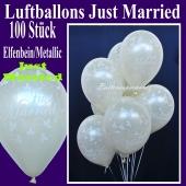 Luftballons Hochzeit, Just Married, Elfenbein-Metallic, 100 Stück