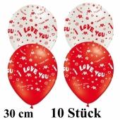 Luftballons I Love You, 30 cm, rot und weiß, 10 Stück