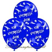 Motiv-Luftballons Ich vermisse Dich, blau, 3 Stueck