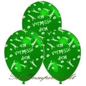 Motiv-Luftballons Ich vermisse Dich, gruen, 3 Stueck