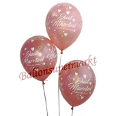 Luftballons Hochzeit, Just Married, Rosegold-Metallic, 5 Stück