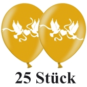 Luftballons 30 cm, Metallic, Gold mit Hochzeitstauben in Weiß, 25 Stück