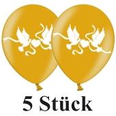 Luftballons 30 cm, Metallic, Gold mit Hochzeitstauben in Weiß, 5 Stück