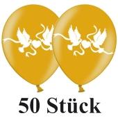 Luftballons 30 cm, Metallic, Gold mit Hochzeitstauben in Weiß, 50 Stück