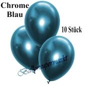 Luftballons in Chrome Blau, 28-30 cm, 10 Stück