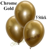 Luftballons in Chrome Gold, 28-30 cm, 5 Stück