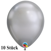 Qualatex Luftballons in Chrome Silver, 27,5 cm, 10 Stück