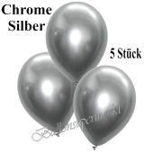 Luftballons in Chrome Silber, 28-30 cm, 5 Stück