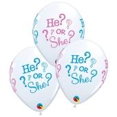 3 Stück Luftballons He or She, Qualatex