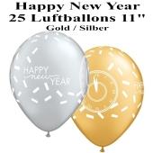 Luftballons zu Silvester und Neujahr, Happy New Year, gold, silber, 25 Stück