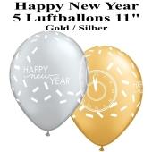 Luftballons zu Silvester und Neujahr, Happy New Year, silber-gold, 5 Stück