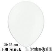 Premium Luftballons aus Latex, 30 cm - 33 cm, weiß, 100 Stück