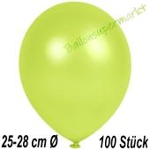 Metallic Luftballons in Apfelgrün, 25-28 cm, 100 Stück