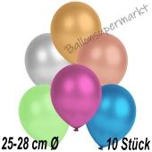 Metallic Luftballons in Bunt gemischten Farben, 25-28 cm, 10 Stück