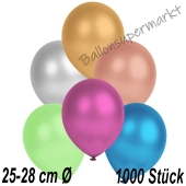 Metallic Luftballons in Bunt gemischten Farben, 25-28 cm, 1000 Stück
