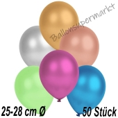 Metallic Luftballons in Bunt gemischten Farben, 25-28 cm, 50 Stück