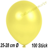 Metallic Luftballons in Gelb, 25-28 cm, 100 Stück