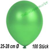 Metallic Luftballons in Grün, 25-28 cm, 100 Stück