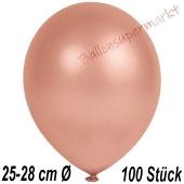 Metallic Luftballons in Rosegold, 25-28 cm, 100 Stück