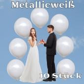 Luftballons 40 cm, Metallicweiß, 10 Stück