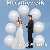 Luftballons 40 cm, Metallicweiß, 100 Stück