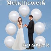 Luftballons 40 cm, Metallicweiß, 50 Stück