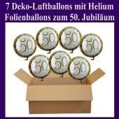 7 Ballons mit Helium-Ballongas, Zahl 50, zum 50. Geburtstag und Jubiläum