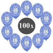"""Luftballons mit der Zahl 18, 100 Stück, Kristall, Blau, 12"""", 28-30 cm"""