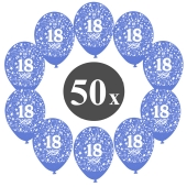 """Luftballons mit der Zahl 18, 50 Stück, Kristall, Blau, 12"""", 28-30 cm"""