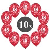 "Luftballons mit der Zahl 18, 10 Stück, Kristall, Rot, 12"", 28-30 cm"