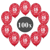 "Luftballons mit der Zahl 18, 100 Stück, Kristall, Rot, 12"", 28-30 cm"