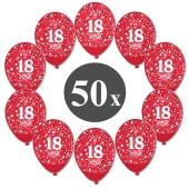 "Luftballons mit der Zahl 18, 50 Stück, Kristall, Rot, 12"", 28-30 cm"