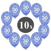 """Luftballons mit der Zahl 30, 10 Stück, Kristall, Blau, 12"""", 28-30 cm"""