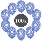 """Luftballons mit der Zahl 30, 100 Stück, Kristall, Blau, 12"""", 28-30 cm"""