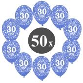 """Luftballons mit der Zahl 30, 50 Stück, Kristall, Blau, 12"""", 28-30 cm"""