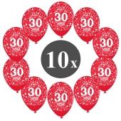 "Luftballons mit der Zahl 30, 10 Stück, Kristall, Rot, 12"", 28-30 cm"