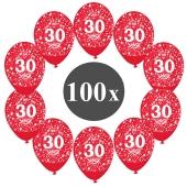 "Luftballons mit der Zahl 30, 100 Stück, Kristall, Rot, 12"", 28-30 cm"