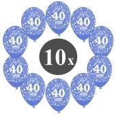 """Luftballons mit der Zahl 40, 10 Stück, Kristall, Blau, 12"""", 28-30 cm"""