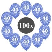 """Luftballons mit der Zahl 40, 100 Stück, Kristall, Blau, 12"""", 28-30 cm"""