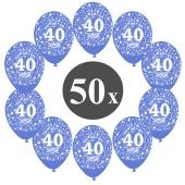 """Luftballons mit der Zahl 40, 50 Stück, Kristall, Blau, 12"""", 28-30 cm"""