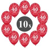 "Luftballons mit der Zahl 40, 10 Stück, Kristall, Rot, 12"", 28-30 cm"