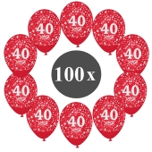 "Luftballons mit der Zahl 40, 100 Stück, Kristall, Rot, 12"", 28-30 cm"