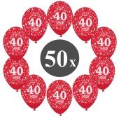 "Luftballons mit der Zahl 40, 50 Stück, Kristall, Rot, 12"", 28-30 cm"