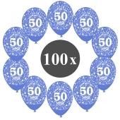 """Luftballons mit der Zahl 50, 100 Stück, Kristall, Blau, 12"""", 28-30 cm"""