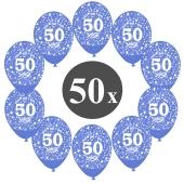 """Luftballons mit der Zahl 50, 50 Stück, Kristall, Blau, 12"""", 28-30 cm"""