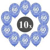 """Luftballons mit der Zahl 60, 10 Stück, Kristall, Blau, 12"""", 28-30 cm"""