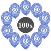 """Luftballons mit der Zahl 60, 100 Stück, Kristall, Blau, 12"""", 28-30 cm"""