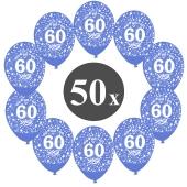"""Luftballons mit der Zahl 60, 50 Stück, Kristall, Blau, 12"""", 28-30 cm"""
