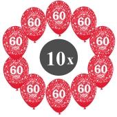 "Luftballons mit der Zahl 60, 10 Stück, Kristall, Rot, 12"", 28-30 cm"