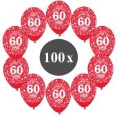 "Luftballons mit der Zahl 60, 100 Stück, Kristall, Rot, 12"", 28-30 cm"
